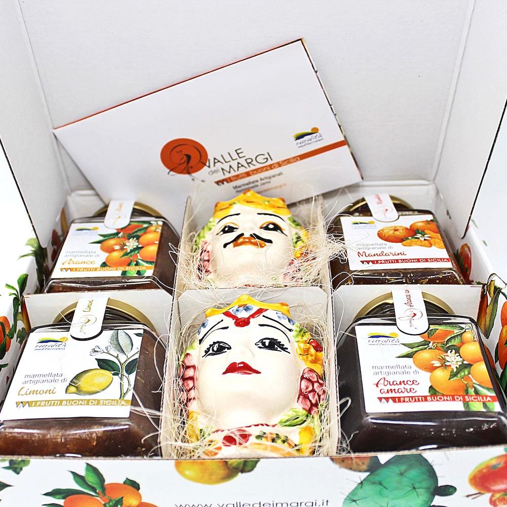 Confezione da 4 marmellate con teste di Caltagirone colorate